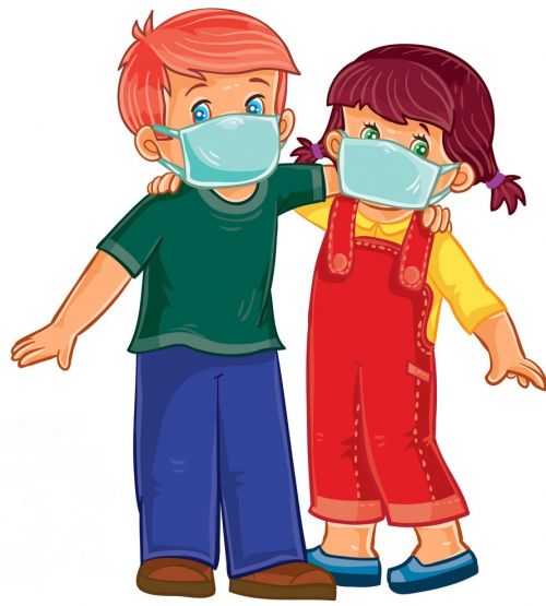little boy and girl in medical masks vector 14470727